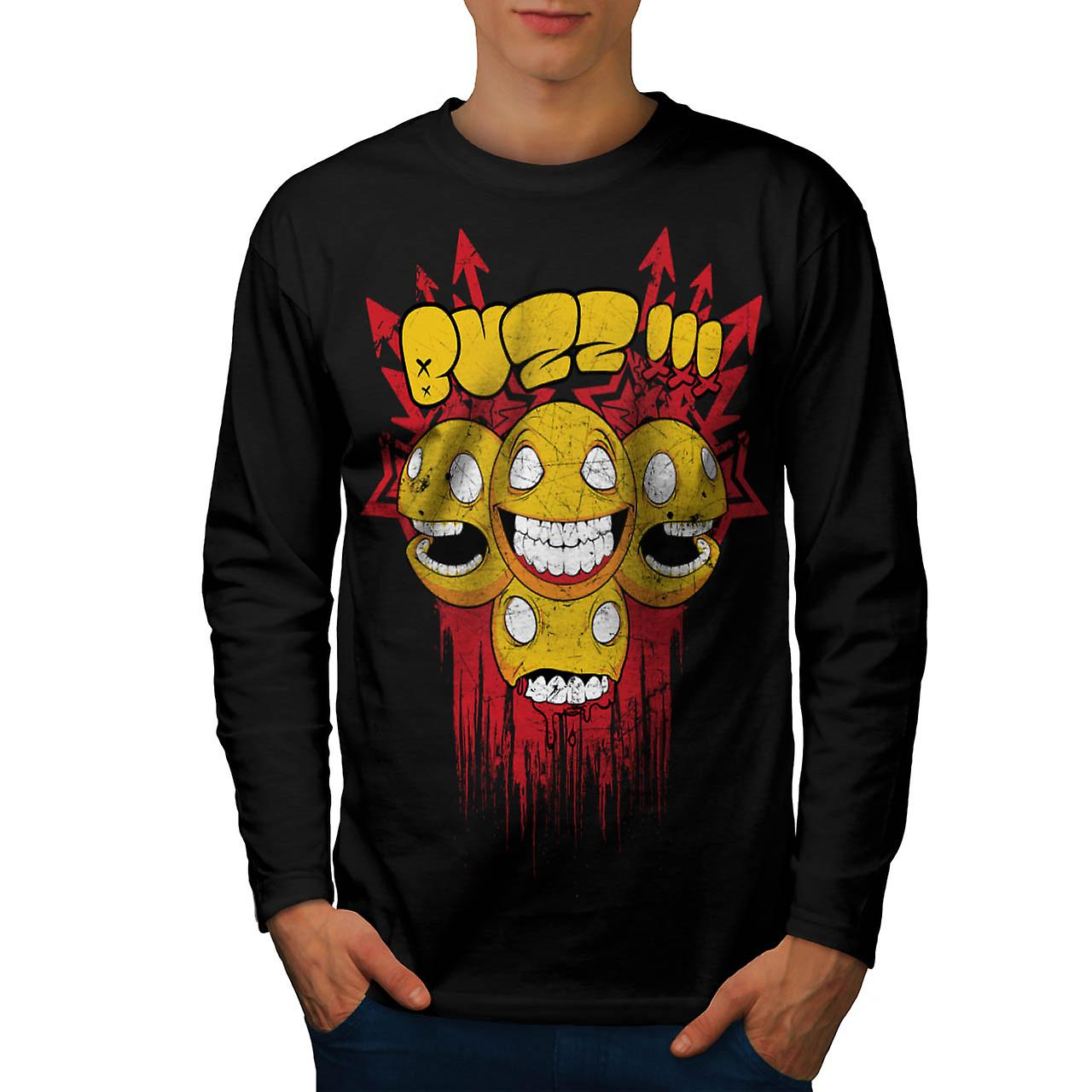 Buzz Zombie Arrow Funny Men Black Long Sleeve T-shirt | Wellcoda