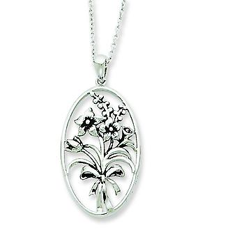Sterling Silver Antiqued I Celebrate The Day You Were Born 18inch Necklace - 4.0 Grams