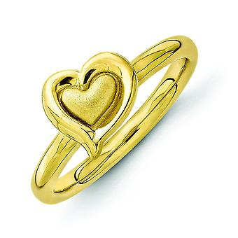 2.25mm Sterling Silver Stackable Expressions Gold-plated Heart Ring - Ring Size: 5 to 10