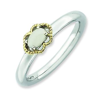2.25mm Sterling Silver Prong set Rhodium-plated and 14k Stackable Expressions White Agate Polished Ring - Ring Size: 5 t