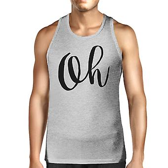 Oh Mens Gray Sleeveless Tanks Simple Calligraphy Gym Workout Top