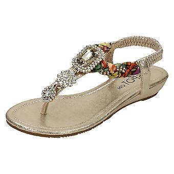 Damer plats på låg Wedge Toepost juvelprydda sandaler F10745 *** väntar bilder ***