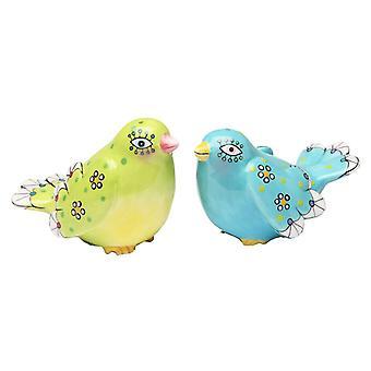 Grønn og blå fuglen Salt og Pepper Shakers sett