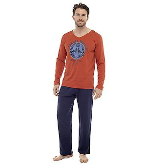 Mens Long Sleeve Dakota Wolves Design Pyjama Lounge Wear