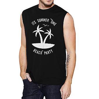 Het is zomer tijd Beach Party Mens zwarte grappige grafische Muscle Tanks