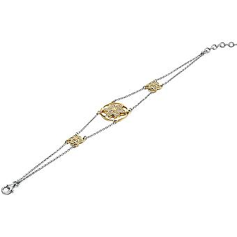 925 Silver Gold Plated And Zirconium Flower Bracelet