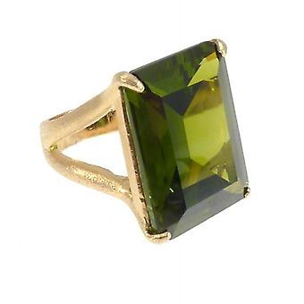 W.A.T Gold Plated Sterling Silver Green CZ Cocktail Ring