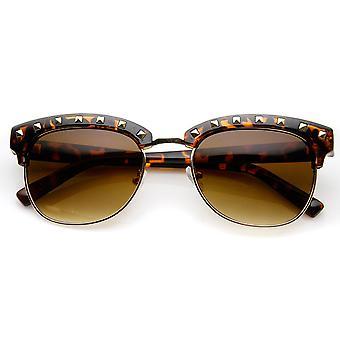 Womens Classic Studded Half Frame Horn Rimmed Sunglasses