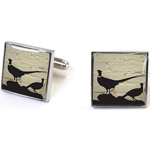 Tyler and Tyler Pheasant Cufflinks - White