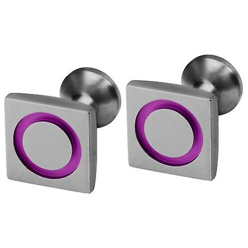 Ti2 Titanium Square Circle Inlay Cufflinks - Candy Pink