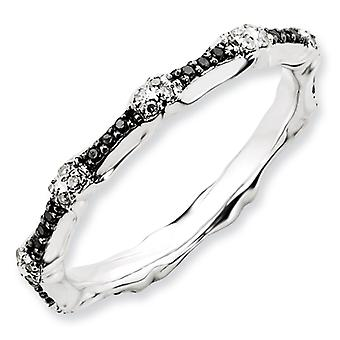 Sterling Silver Polished Prong set Patterned Rhodium-plated Stackable Expressions Black and White Diamond Ring - Ring Si