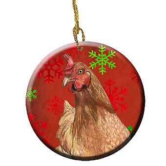 Chicken Red Snowflakes Holiday Christmas  Ceramic Ornament