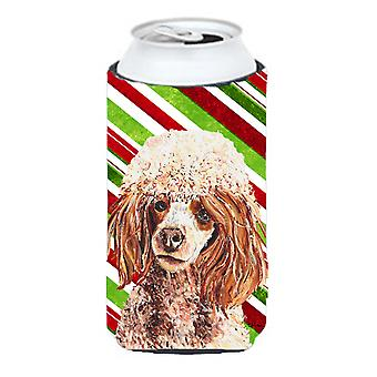 Red Miniature Poodle Candy Cane Christmas Tall Boy Beverage Insulator Hugger