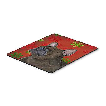 French Bulldog Red and Green Snowflakes Christmas Mouse Pad, Hot Pad or Trivet