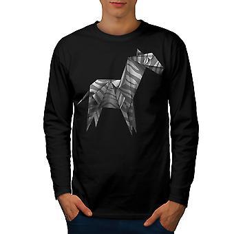 Origami Zebra cool mænd BlackLong ærme T-shirt | Wellcoda