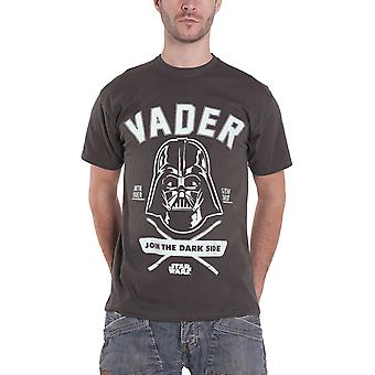 Star Wars T Shirt Darth Vader Collegiate Outline Logo Official Mens New Charcoal