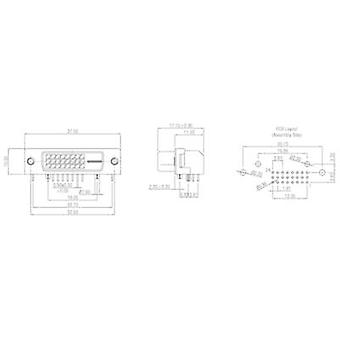 DVI connector Socket, horizontal mount Number of pins: 29 Silver W & P Products 507-29-2-2-20 1 pc(s)