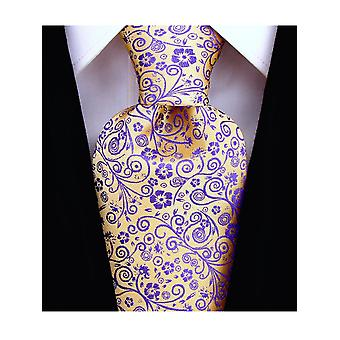 Scott Allan Mens Floral Necktie - Goldenrod Yellow and Purple Mens Tie
