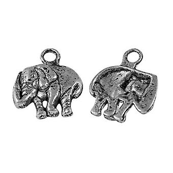Packet 30 x Antique Silver Tibetan 13mm Elephant Charm/Pendant ZX13625