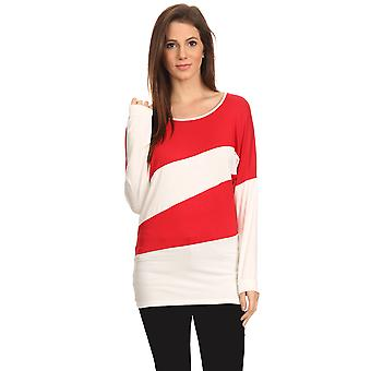 Féminines à rayures manches longues chemise Summer Top.RED/IVORY.2X