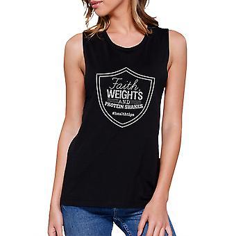 Fé pesos Womens Black Workout bonito presente Tank Top músculo camisa