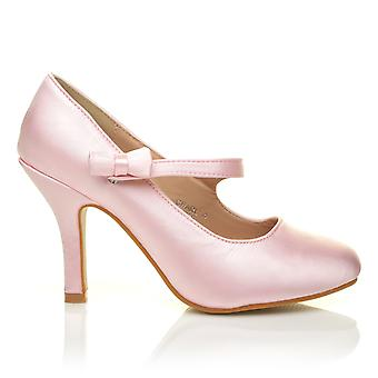 CHARLOTTE Baby Pink Satin High Heel Bridal Bow Mary Jane Shoes