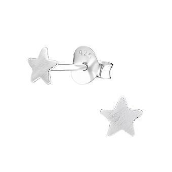 Star - 925 Sterling Silver Plain Ear Studs - W27360X