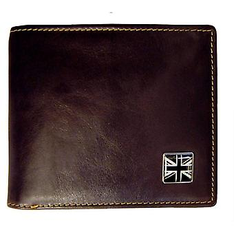 Tyler and Tyler Leather Union Jack Bill Fold Wallet - Brown