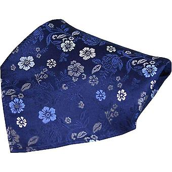 Posh and Dandy Flowers Luxury Silk Pocket Square - Navy