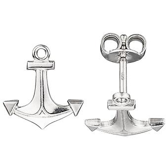 rhodium-plated sterling silver earrings maritime, anchor earrings silver studs