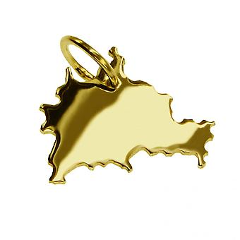 Trailer map pendants in gold yellow-gold in the form of BERLIN