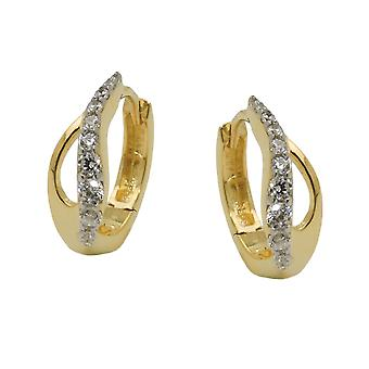 Hoop two tone coloured zirconia 9k gold