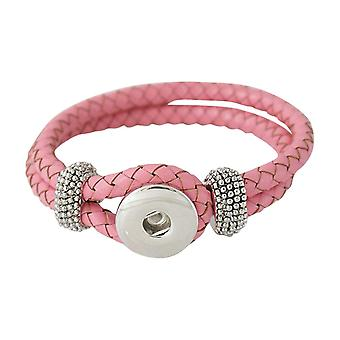 Leather bracelet for click buttons pink Size 20 cm