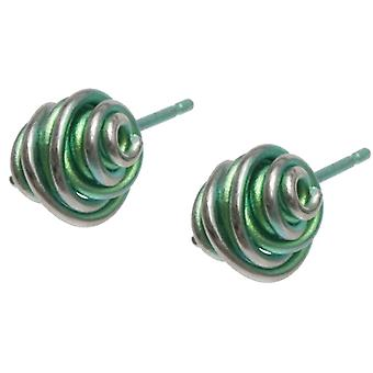 Ti2 Titanium Chaos Small Stud Earrings - Green