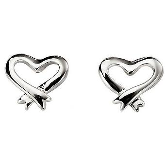 Beginnings Cross Over Open Heart Stud Earrings - Silver