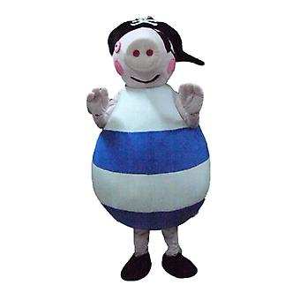 mascot SPOTSOUND of fat pig pink, blue and white, with a hat