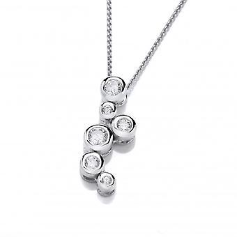 La plata francesa de Cavendish y burbujas de cristal colgante con cadena de plata de 16-18