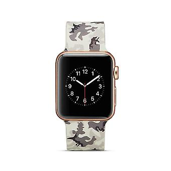 Silicone klockrem for Apple Watch 4 40 mm, 3/2/1 38 mm-Grey Camouflage