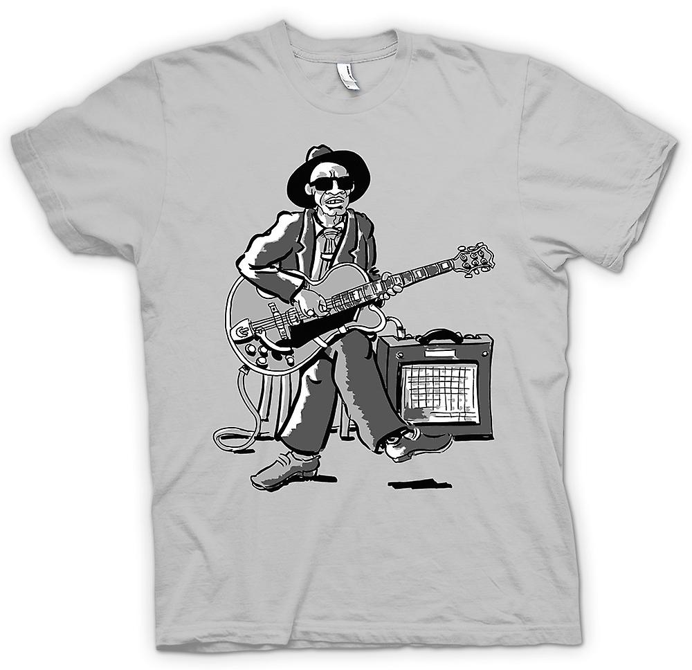 Mens T-shirt - Old Blues Guitarist With Amp - Music