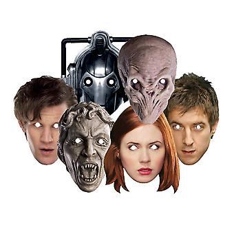 Doctor Who Partei Karte Gesicht Masken Set 6 (Dr. Who, Amy Pond, Rory, leise, weinende Engel und Cyberman)