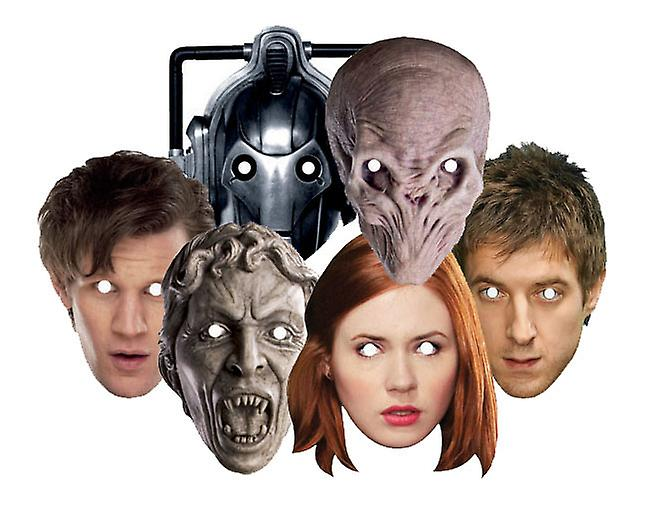 Doctor Who Party Card Face Masks Set of 6 (Dr Who, Amy Pond, Rory, Silent, Weeping Angel and Cyberman)