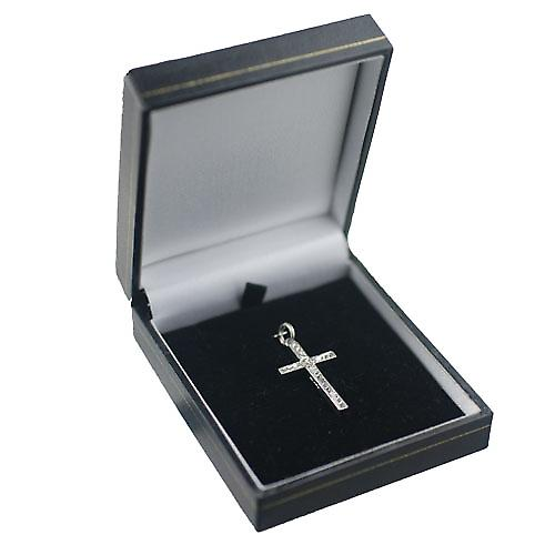 9ct White Gold 30x18mm victorian hand engraved solid block Cross