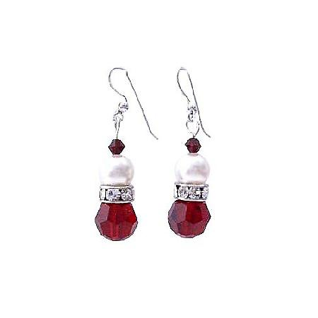 Siam Red Swarovski Crystals Simulated Diamond & White Pearl Earrings