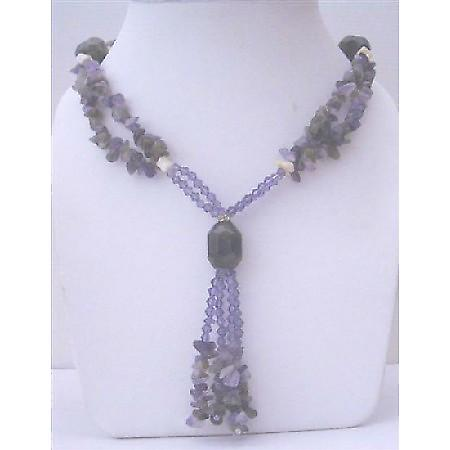Long Necklace Amethyst Nugget w/ Simulated Amethyst Crystals Necklace