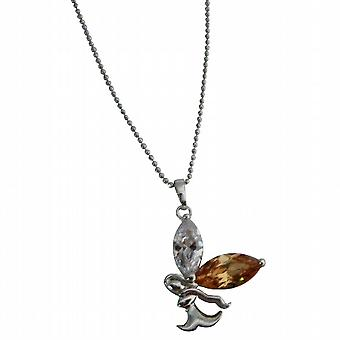Lite Copper & Clear Crystals Angel Pendant Christmas Gift Necklace