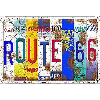 Route 66 Licence Plates embossed metal sign   (ga)