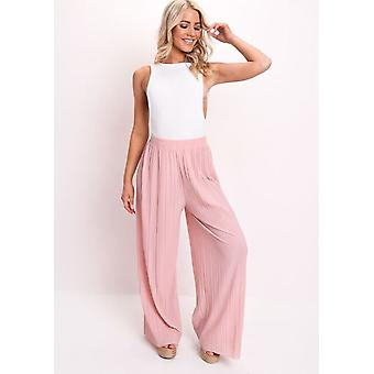 High Waisted Pleated Wide Leg Trousers Pink