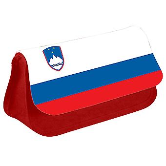 Slovenia Flag Printed Design Pencil Case for Stationary/Cosmetic - 0159 (Red) by i-Tronixs