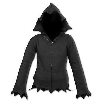 Spiral Direct Gothic GOTHIC ELEGANCE - Zig Zag Hem Full Zip Hoody Black|Gothic