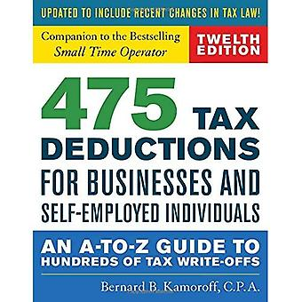 475 Tax Deductions for Businesses and Self-Employed� Individuals: An A-to-Z Guide to Hundreds of Tax Write-Offs